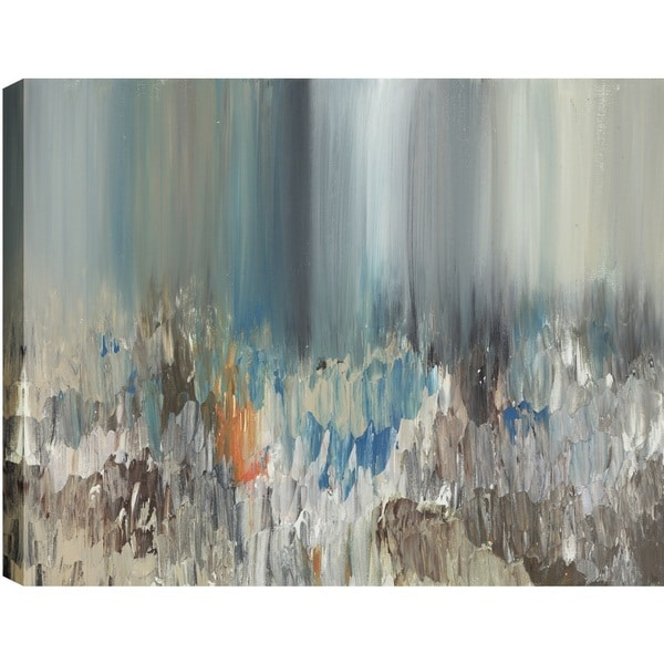 Hobbitholeco. Sanjay Patel, Dark Pond Reflections Abstract, Gel Brush Finish Canvas Wall Art Decor, Gallery Wrapped 24X48 18861951