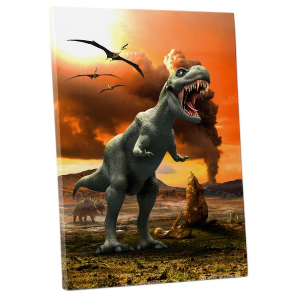 'Dinosaur Volcanic Wasteland' Children's Gallery-wrapped Canvas Wall Art