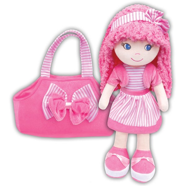 GirlznDollz Leila Pink, White Fabric Holiday Dress Up Doll with Bag
