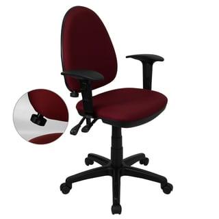 Amalan Burgundy Fabric Swivel Office Chair