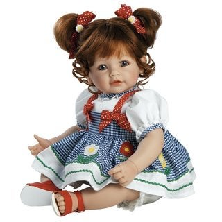 Adora Daisy Delight 20-inch Weighted Baby Doll in Gingham Dress and Polka Dot Bows