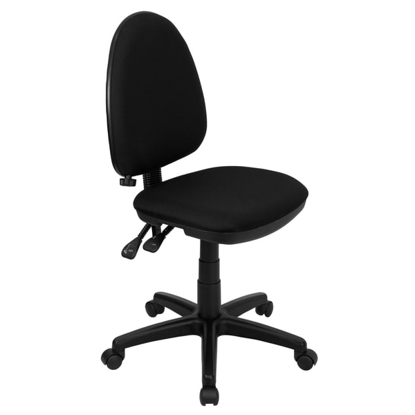 Amalan Black Fabric Armless Multi Functional Swivel Office Chair with Adjustable Lumbar Support