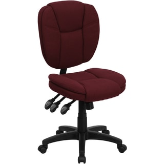 Cornel Armless Burgundy Fabric Multi-Functional Adjustable Swivel Office Chair