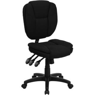 Cornel Black Fabric/Metal/Nylon Armless Multi Functional Adjustable Swivel Office Chair
