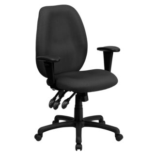 Fay Grey and Black Fabric and Metal Multi-functional Executive Swivel Office Chair with Height Adjustable Arms