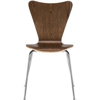Edgemod Elgin Walnut Wood and Chrome Steel Dining Side Chair