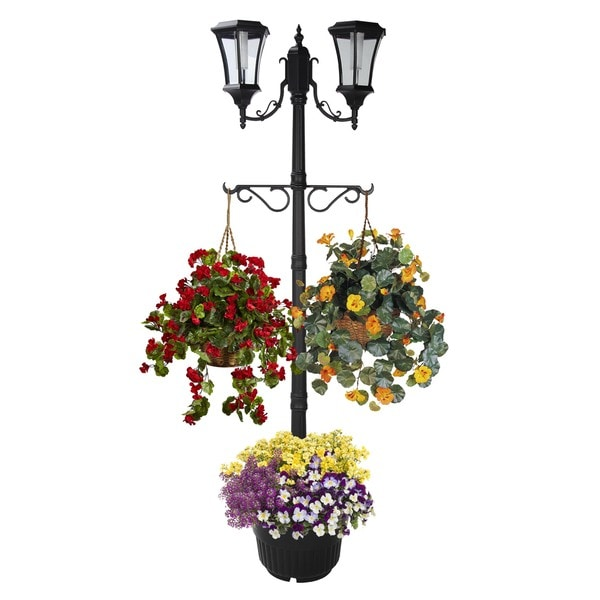 Martens two head solar lamp post and planter 18807300 for 59 victorian lighted black lamp post christmas decoration