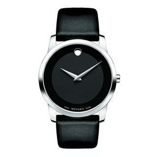 Movado Men's 0606502 Black Leather/Acrylic/Stainless Steel Museum Watch