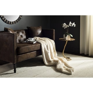 Safavieh Faux Glistened Mink Creamy Pearl Throw (50-Inches x 60-Inches)