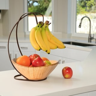 Seville Classics Fruit Tree with Banana Hook and Large Bamboo Bowl