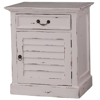 Bramble Co. Shutter Cabinet White Distressed Nightstand