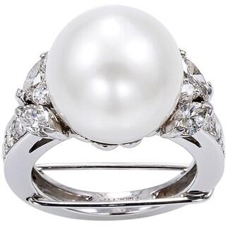 18K White Gold 2ct TDW Pearl and Diamonds Cocktail Ring (G-H, VS1-VS2)