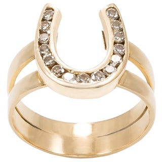 18K Yellow Gold 1/3ct TDW Horse Shoe Twin Shank Estate Ring (K-L, I1-I2)