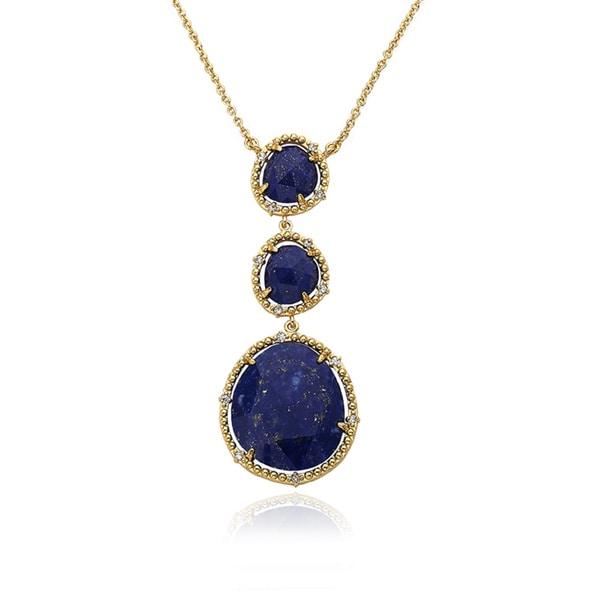 Radiance Bijou By Riccova14K Gold Plated Brass Triple Drop Lapis Gem Stone Pendant Chain Necklace