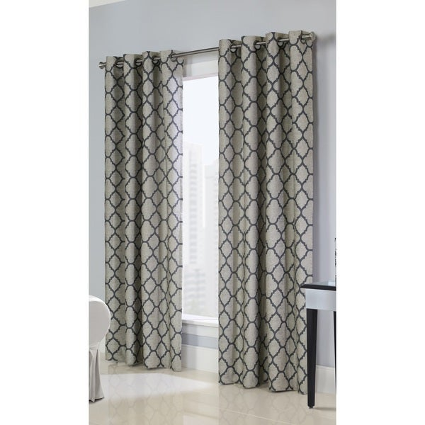 Clover Jacquard Unlined Grommet Curtain Panel