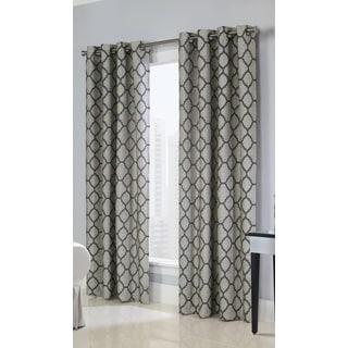 Clover Jacquard Unlined Grommet Curtain Panel