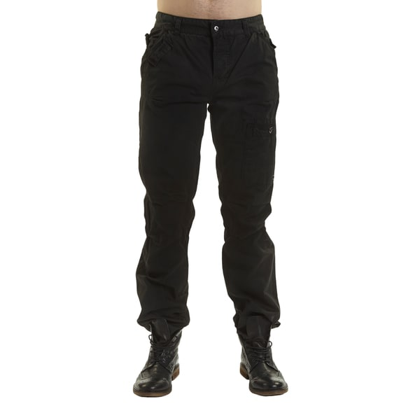 Excelled Men's Black Cotton Peached Pants
