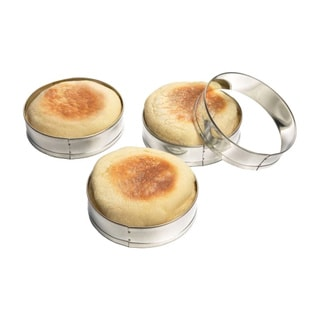 Fox Run 4685 Silver Steel 1-inch x 8.1-inch x 8.1-inch English Muffin Rings (Pack of 4)