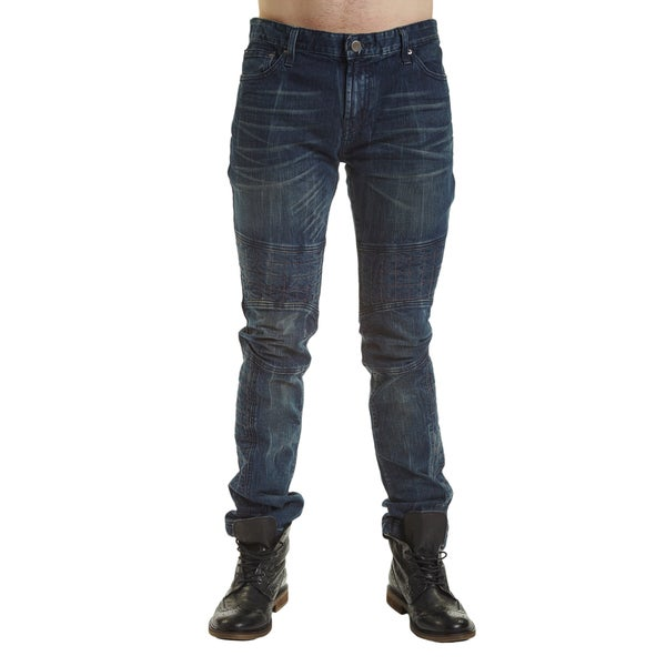 Excelled Men's Blue/Black Cotton Quilted Moto Jeans