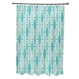 71 x 74-inch Wavy Geometric Print Shower Curtain