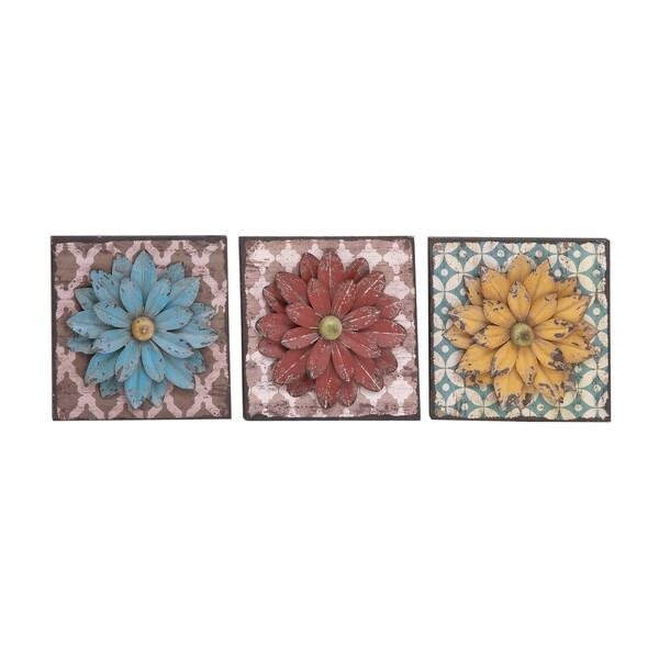 Metal Flower Wall Art (Pack of 3)