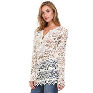 Tea n Rose Women's Ivory/Navy Cotton Long-sleeve Overlay Knit Top
