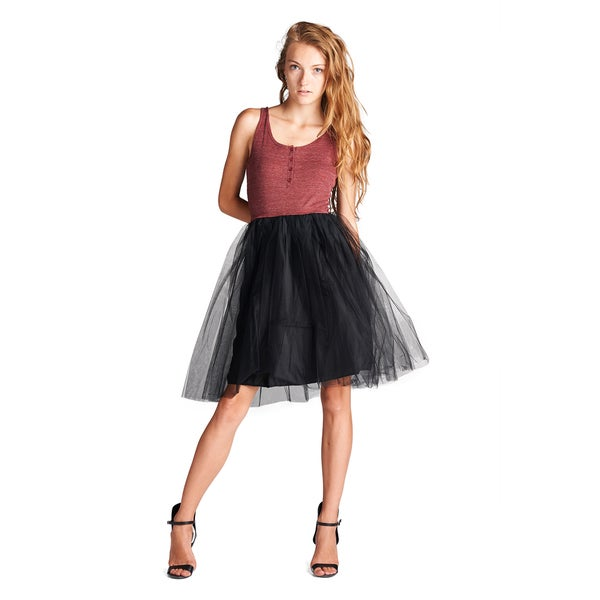 Orange Creek Women's Sleeveless Ribbed Top and Tulle Skirt Dress