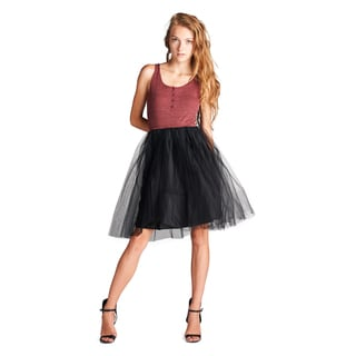 Orange Creek Women's Sleeveless Ribbed Top and Tulle Skirt Dress