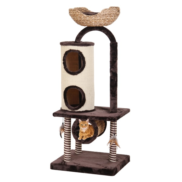 Penn Plax Brown Wood/Fabric Hide-away Cat Tree with Nest and Scratchers