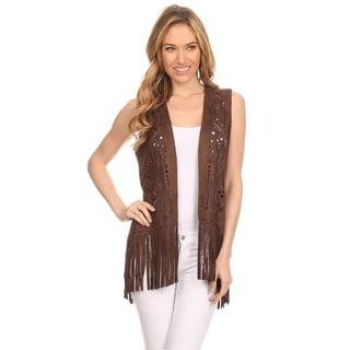 High Secret Women's Green/Brown Polyester Cutout Fringe Vest