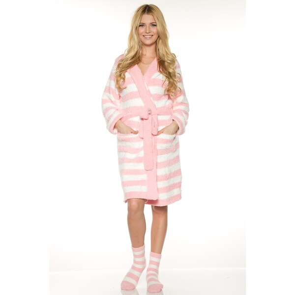 Rhonda Shear Women's Red/Pink/Off-white Polyester Marshmallow Hooded Robe