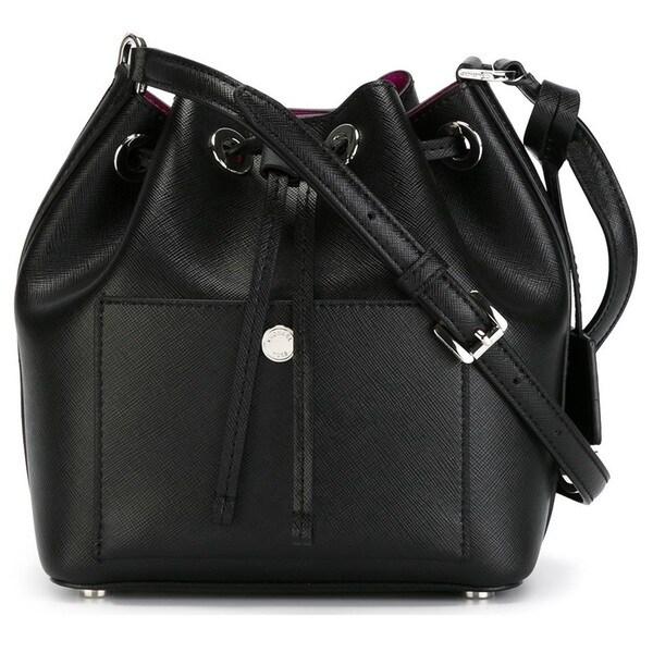Michael Kors Greenwich Small Saffiano Leather Black/Fuschia Bucket Handbag