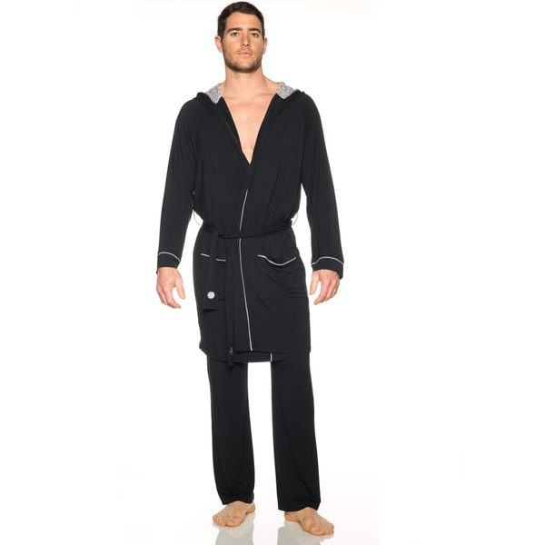 Slacker Men's Blue/Black Rayon Hooded Robe
