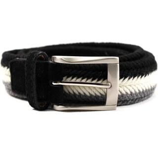 Zerbini Women's Black/White/Grey Textile 37-inch Belt