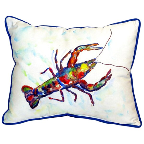 Betsy Drake Crayfish Multicolor Polyester 16-inch x 20-inch Indoor/Outdoor Throw Pillow