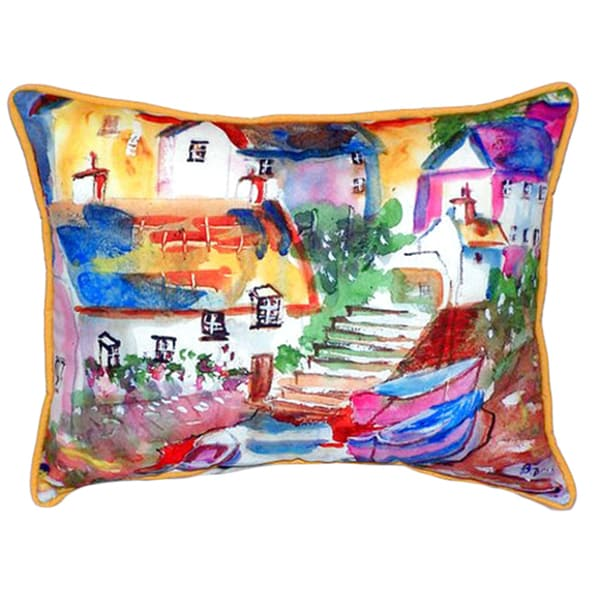 'Boats at Steps' 20x24 Indoor/Outdoor Throw Pillow