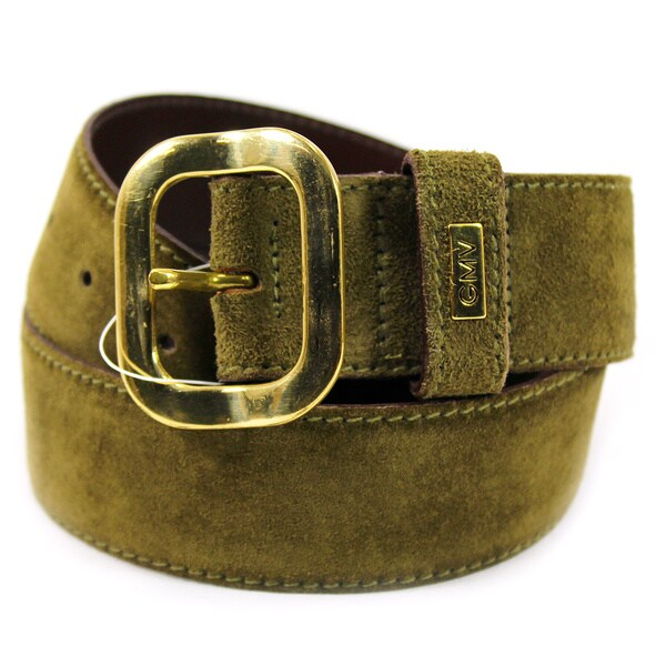 Gianmarco Venturi Women's Green Suede 30-inch Belt