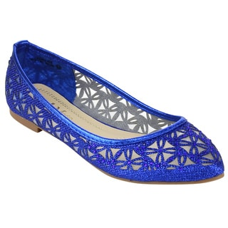 ANNA LOREN-5 Women's Solid-colored Lace Slip-on Ballet Flats