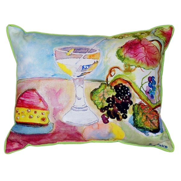Betsy Drake Wine and Cheese Multi-color Polyester 16-inch x 20-inch Indoor/Outdoor Throw Pillow