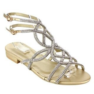 Eye Candie Women's Gold/Silver Faux-leather Strappy Dress Sandals