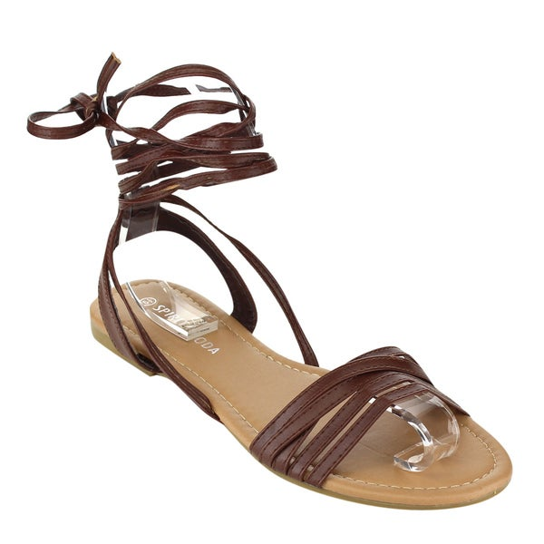 SPIRIT MODA Women's Brown Faux Leather Gladiator Sandals
