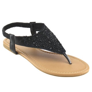 Spirit Moda Women's Crystal Flat Thong Sandals