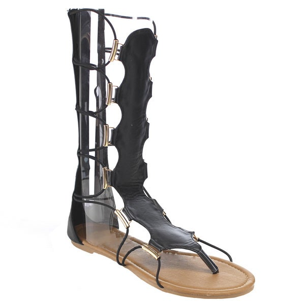 Women's LILLE Tall-H Black Faux Leather Gladiator Sandals