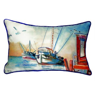 Betsy Drake Shrimp Boat Multicolor Polyester 16-inch x 20-inch Throw Pillow