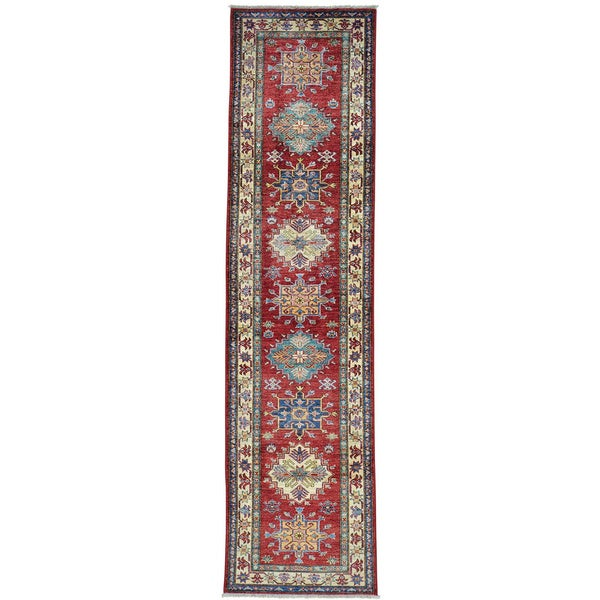 Red Super Kazak Geometric Design Runner Hand Knotted Rug (2'6 x 9'10) 18876042