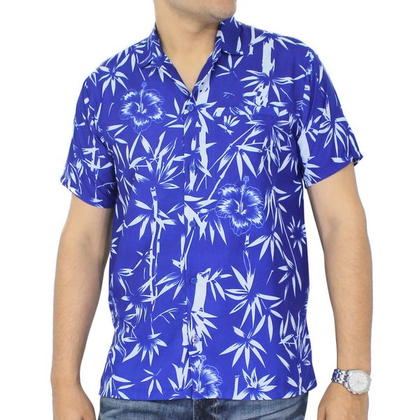 La Leela Men's Blue Silk Leaves Likre Palm Tree Short Sleeve Hawaiian Shirt