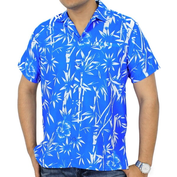 La Leela Palm Tree Leaves Short Sleeve Mens Shirt Smooth Likre Beachwear Hawaiian Blue