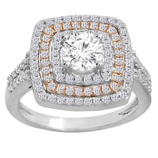 14k Two-Tone Gold 1 1/2ct TDW Diamond Bridal Halo Split Shank Engagement Ring (I-J, I1-I2)