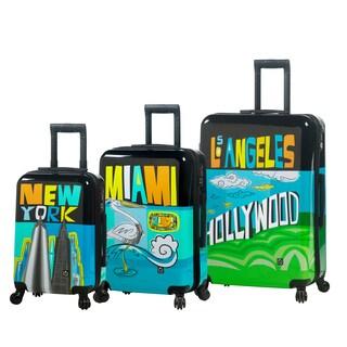 Mia Toro Italy Lebo Destination Usa 3-piece Fashion Hardside Spinner Luggage Set