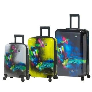 Mia Toro Italy Prado Butterfly Kiss 3-piece Fashion Hardside Spinner Luggage Set